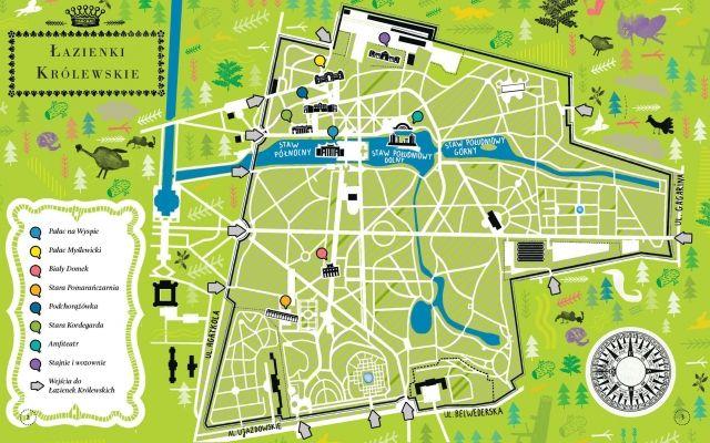Łazienki Królewskie Mapa