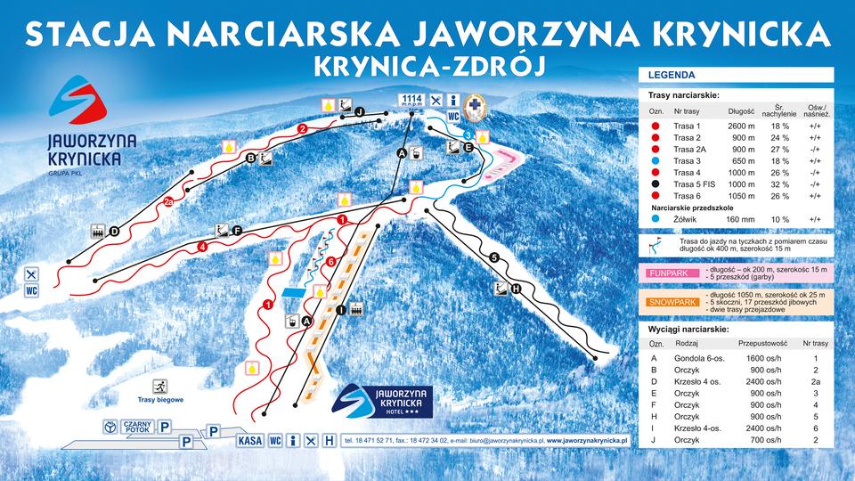 Map of ski trails Jaworzyna Krynicka
