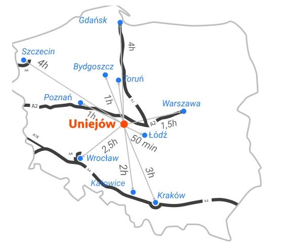Termas uniejów map