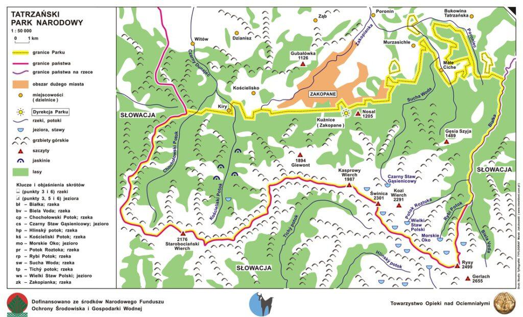 Tatrzański Park Narodowy mapa
